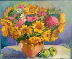 """Symphony In Pink and Yellow"" Contemporary Impressionist Sunflower Still Life"
