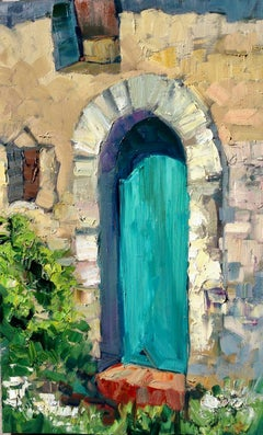 """""""Teal Door In Brittany""""  Contemporary Impressionist Oil Painting of France"""