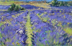"""""""Textured Lavender In The Valley """" Impressionist Oil, Provence by Maria Bertran"""