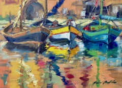 """""""Trois Bateaux"""" Contemporary Impressionist Oil Of French Riviera"""