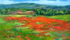 """""""Vacheres Poppy Field""""  Impressionist Painting by Maria Bertran In Provence"""