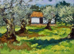 """White House In The Olive Grove""  Modern Impressionist Oil Painting of Spain"