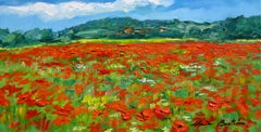 """Wild Poppies Near Rousillon""  Modern Impressionist Oil Painting of Provence"