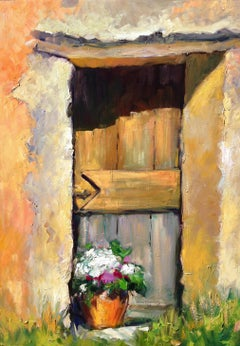 """Wooden Door in The Textured Wall"" Contemporary Impressionist Oil of Provence"