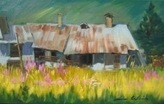 """""""Zinc Roofs"""" Modern Impressionist Oil of the French Alps by Maria Bertran"""