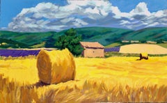 """Hayrolls In The Lavender""  Contemporary Impressionist Serigraph of Provence"