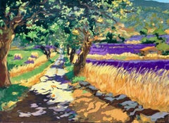"""Road To Sault""  Contemporary Impressionist Serigraph of Provence, France"