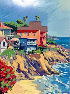 """Woods Cove"" Contemporary Impressionist Serigraph of Laguna Beach"