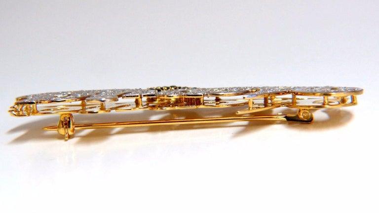 Women's or Men's Maria Brooch Pin 2.00 Carat Natural Sapphire Diamonds 14 Karat For Sale