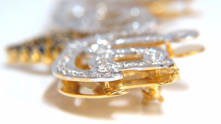 Maria Brooch Pin 2.00 Carat Natural Sapphire Diamonds 14 Karat For Sale 1