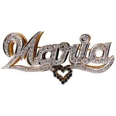 Maria Brooch Pin 2.00 Carat Natural Sapphire Diamonds 14 Karat