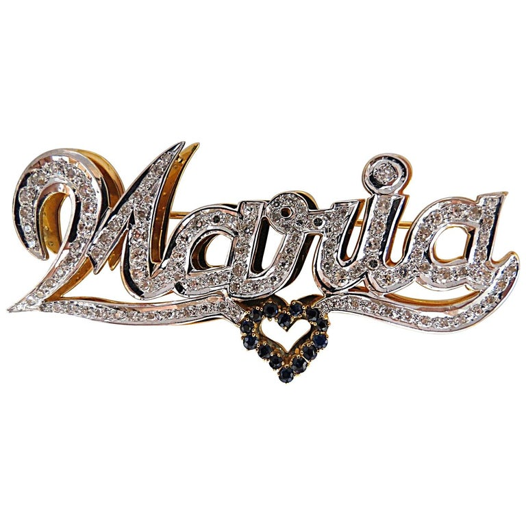Maria Brooch Pin 2.00 Carat Natural Sapphire Diamonds 14 Karat For Sale