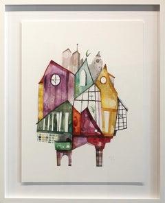Beach House - Original Watercolor Artwork (Framed)