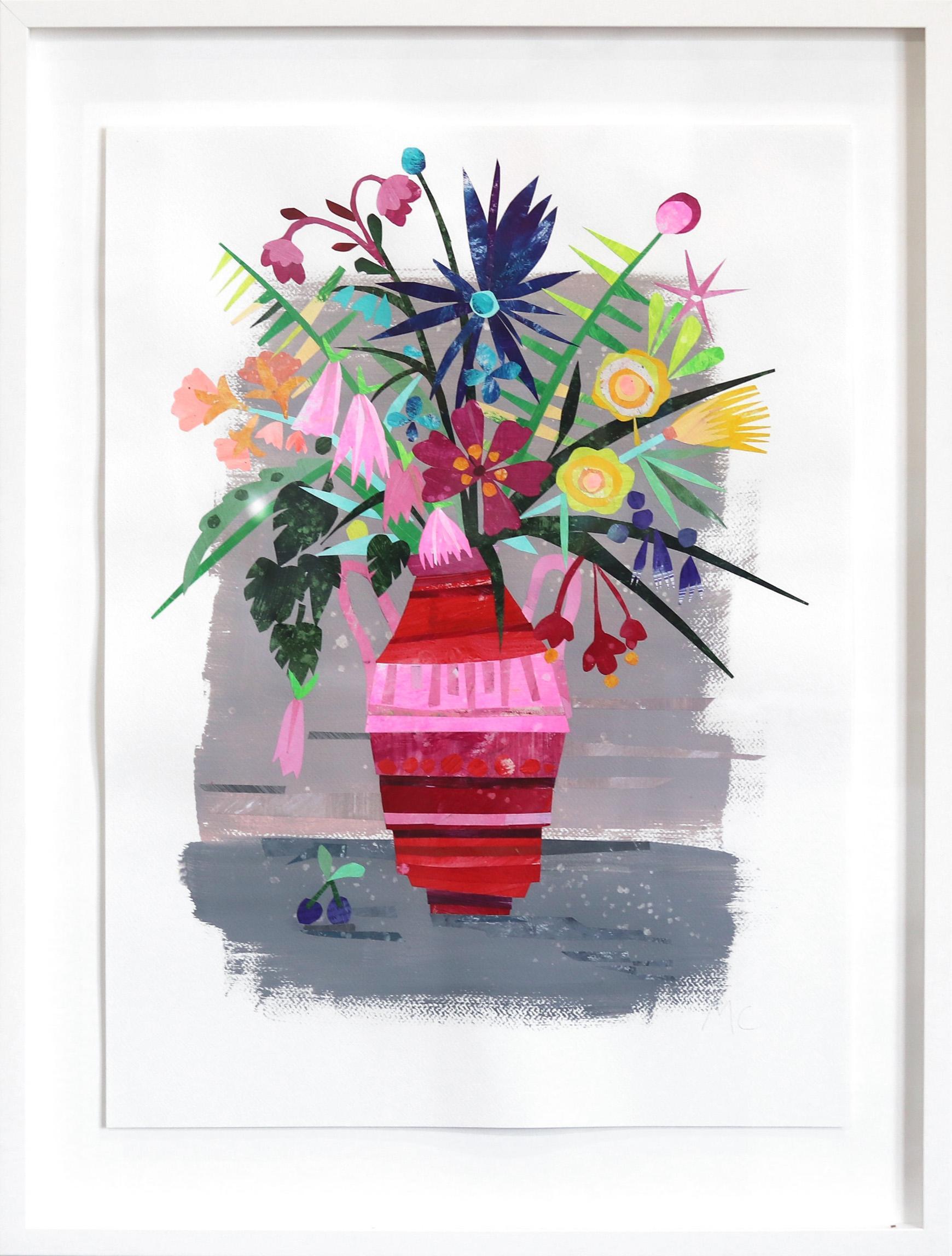 Garden Flowers - Original Watercolor Mixed Media Artwork (Framed)
