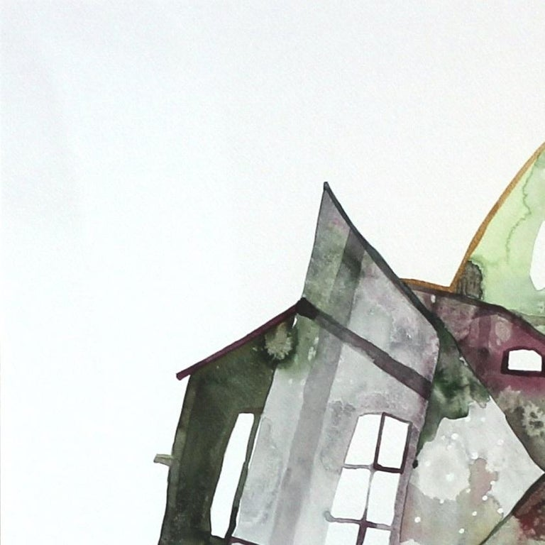 Green House - Original Watercolor Artwork (Framed) - Abstract Impressionist Painting by Maria C. Bernhardsson