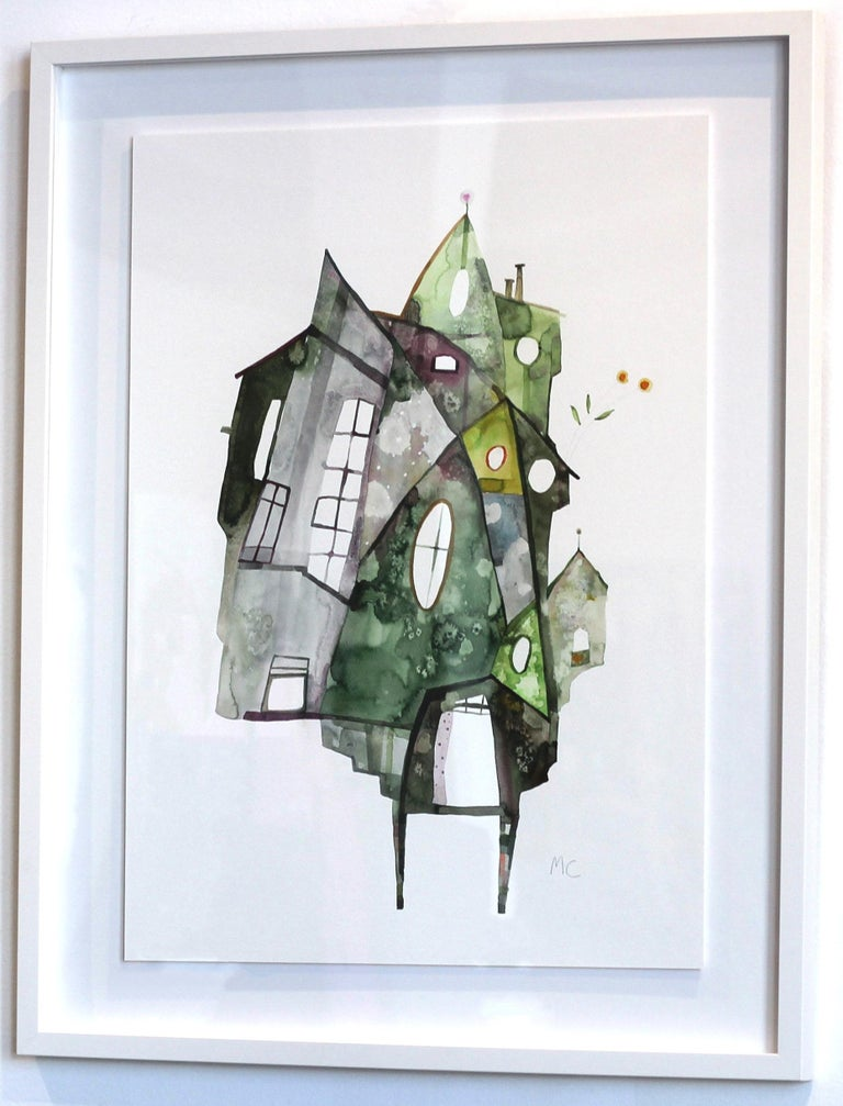 Green House - Original Watercolor Artwork (Framed) - Gray Abstract Painting by Maria C. Bernhardsson
