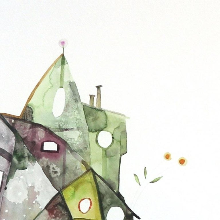 Maria C Bernhardsson is a colorful artist who lives and paints in Sweden. Most of her works are influenced by the architecture and geometry of houses. Bernhardsson travels the world photographing and sketching houses to use as inspiration for her
