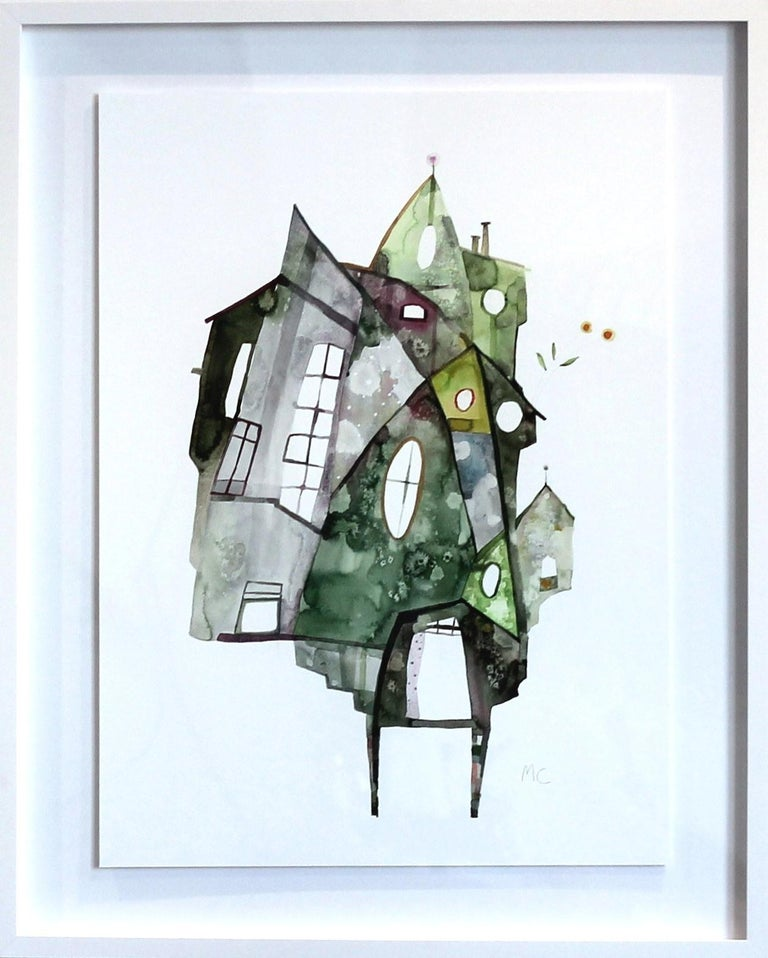 Maria C. Bernhardsson Abstract Painting - Green House - Original Watercolor Artwork (Framed)