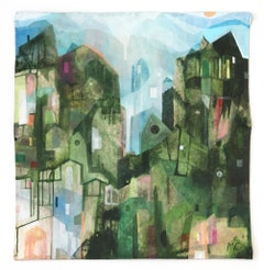 Greener Mountains  -  Original Abstracted Cityscape Artwork on Canvas