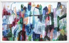 Love Birds  -  Original Abstracted Cityscape Artwork on Canvas (Framed)