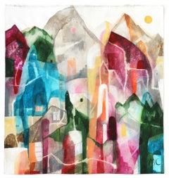 Rainbow Mountains - Original Raw Canvas Artwork