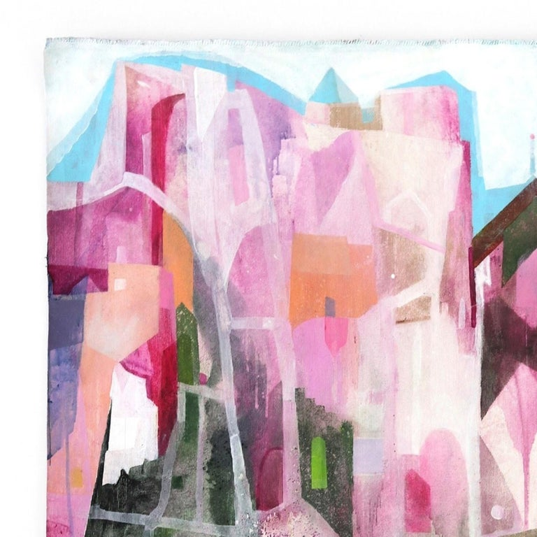The Pink Hotel  -  Original Abstracted Cityscape Artwork on Canvas (Framed) - Abstract Impressionist Painting by Maria C. Bernhardsson