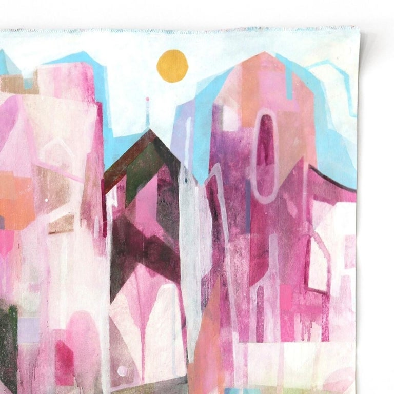 The Pink Hotel  -  Original Abstracted Cityscape Artwork on Canvas (Framed) - Beige Abstract Painting by Maria C. Bernhardsson