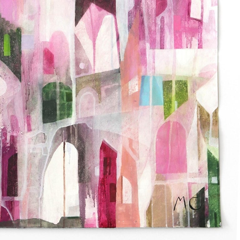 The Pink Hotel  -  Original Abstracted Cityscape Artwork on Canvas (Framed) For Sale 1