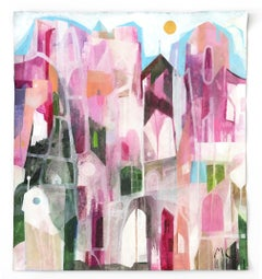 The Pink Hotel  -  Original Abstracted Cityscape Artwork on Canvas