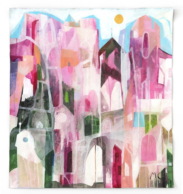 The Pink Hotel  -  Original Abstracted Cityscape Artwork on Canvas (Framed) - Painting by Maria C. Bernhardsson