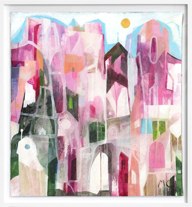 Maria C. Bernhardsson Abstract Painting - The Pink Hotel  -  Original Abstracted Cityscape Artwork on Canvas (Framed)