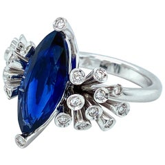 Maria Gaspari Marquise 5 Carat Intense Blue Sapphire and Diamond Engagement Ring