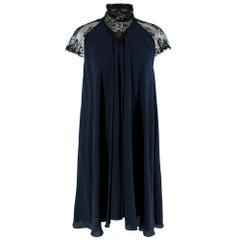 Maria Grachvogel Navy & Black Lace Detailed Silk Dress - Size US 10