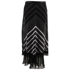 Maria Grazia Severi Black Silky Beaded maxi Skirt Long Lenght