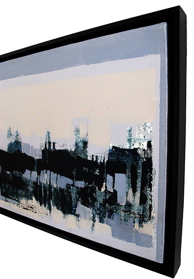 Horizontes I, abstract landscape painting, contemporary framed - oil on canvas - Painting by Maria Jose Concha
