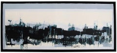 Horizontes I, abstract landscape painting, contemporary framed - oil on canvas