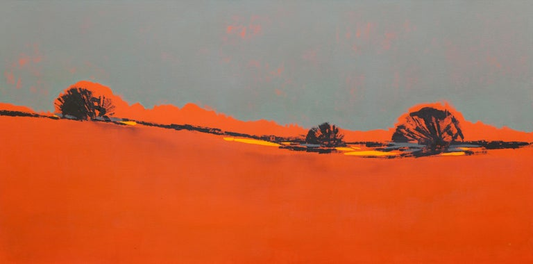 Maria Jose Concha Landscape Painting - Orange Composition-Large abstract Patagonia landscape, oil contemporary painting
