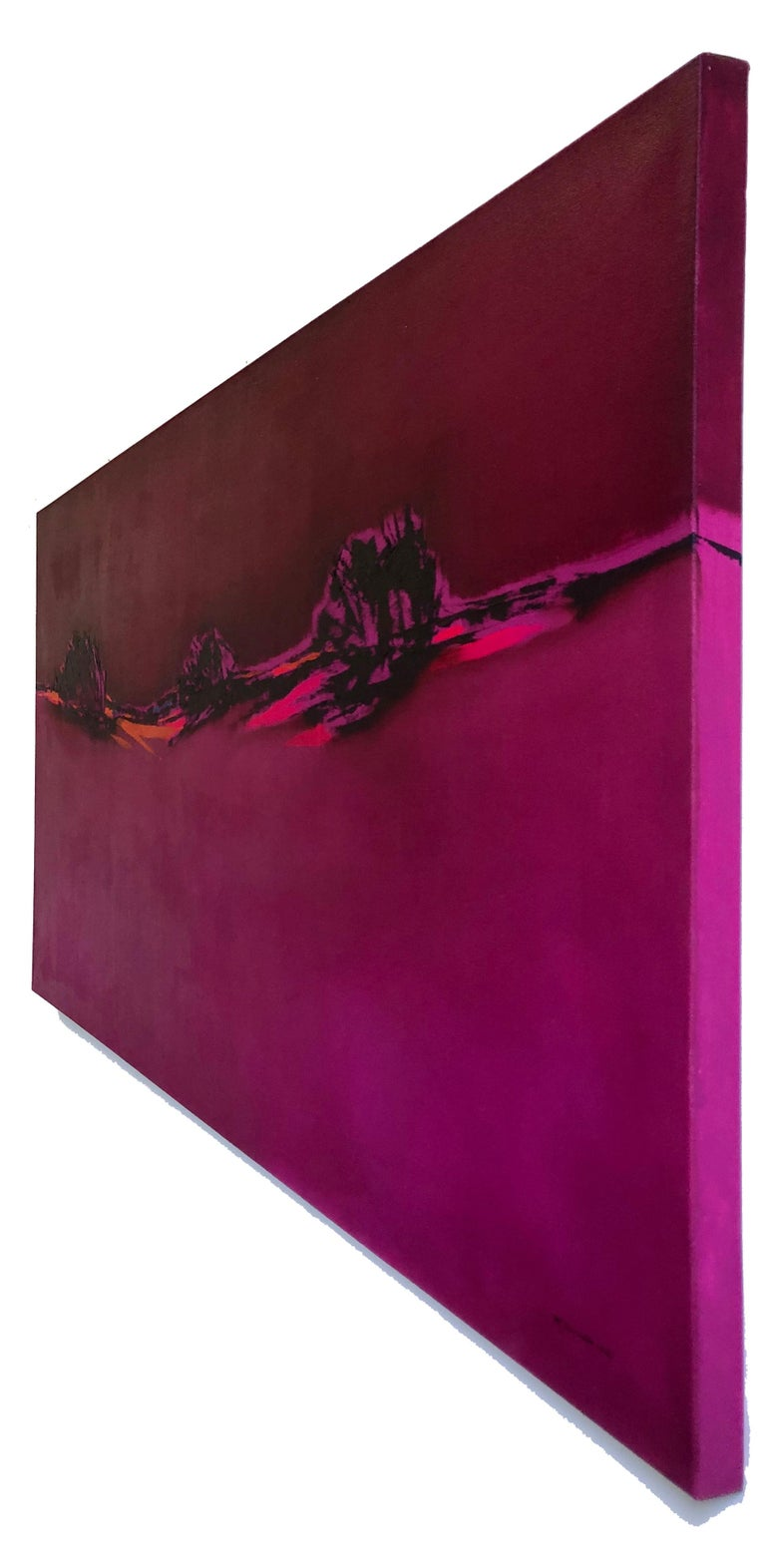 Pink Blazing - Homage to Patagonia, abstract landscape oil bright bold colors - Abstract Painting by Maria Jose Concha