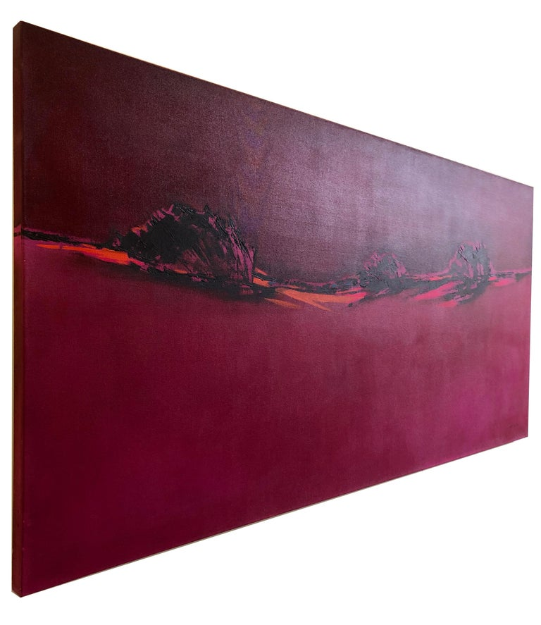 Pink Blazing - Homage to Patagonia, abstract landscape oil bright bold colors For Sale 3