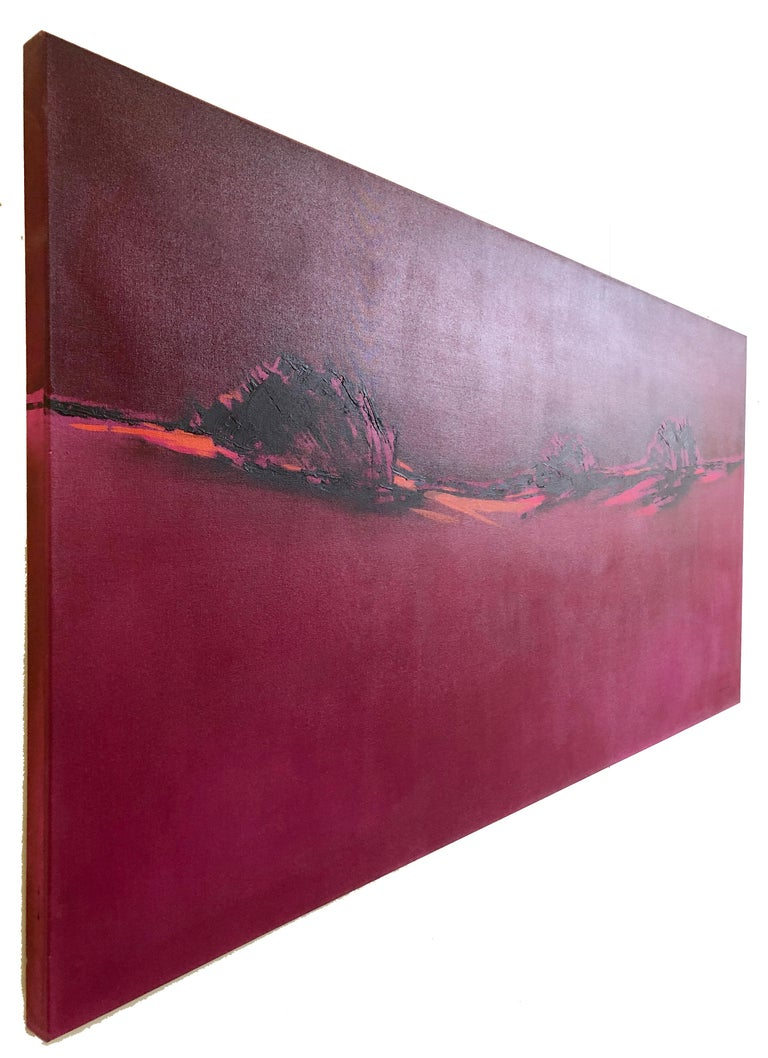 Pink Blazing - Homage to Patagonia, abstract landscape oil bright bold colors For Sale 2
