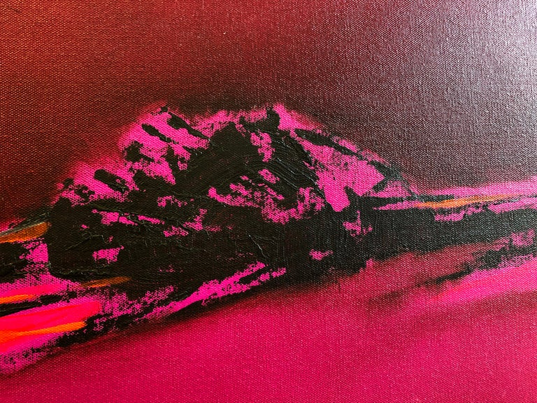 Pink Blazing - Homage to Patagonia, abstract landscape oil bright bold colors For Sale 5