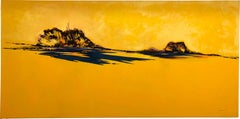Sunshine Again, horizontal yellow abstract landscape painting, oil on canvas