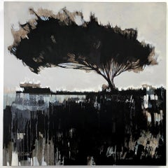 Terranova, abstract tree landscape painting, contemporary oil on canvas