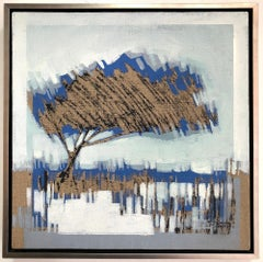Tree - Arbol V, abstract landscape painting, contemporary framed - oil on linen