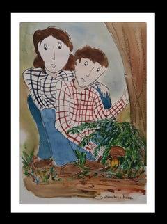FAMILY. original watercolor naif contemporary painting