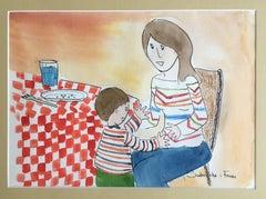 naif child work. original watercolor painting