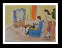 rest at home original watercolor naif painting