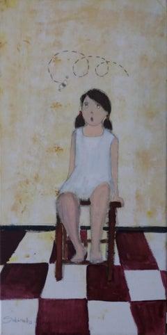 Rosa. original  naif contemporary gouache painting.