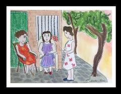 TALK IN THE PARK.original naif watercolor painting