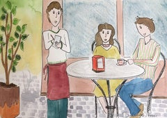 three people sitting. naif original watercolor painting